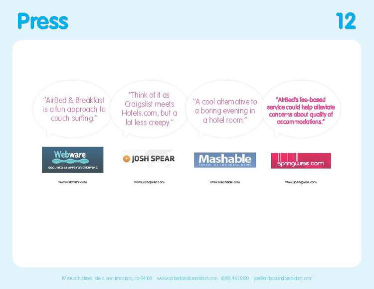 Airbnb Pitch Deck Original: Press Quotes Slide — Best Pitch Deck Examples | VIP Graphics