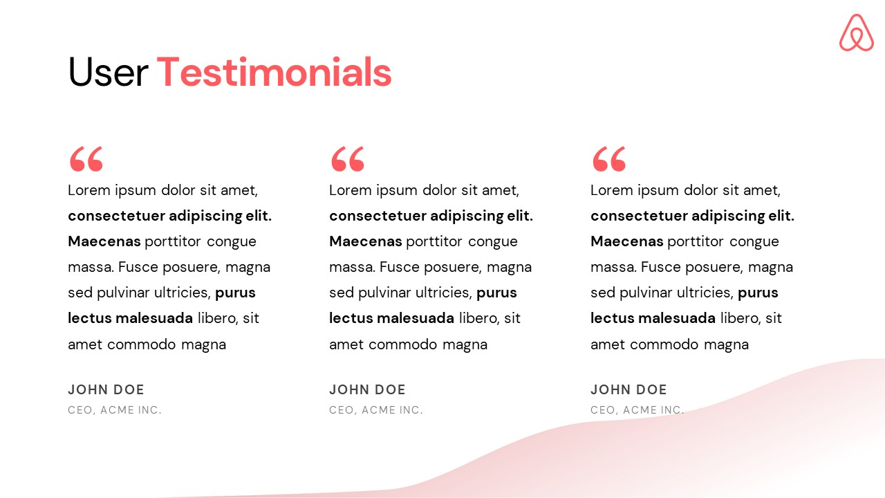 Airbnb Pitch Deck Template: Testimonials Slide — Best Pitch Deck Examples | VIP Graphics