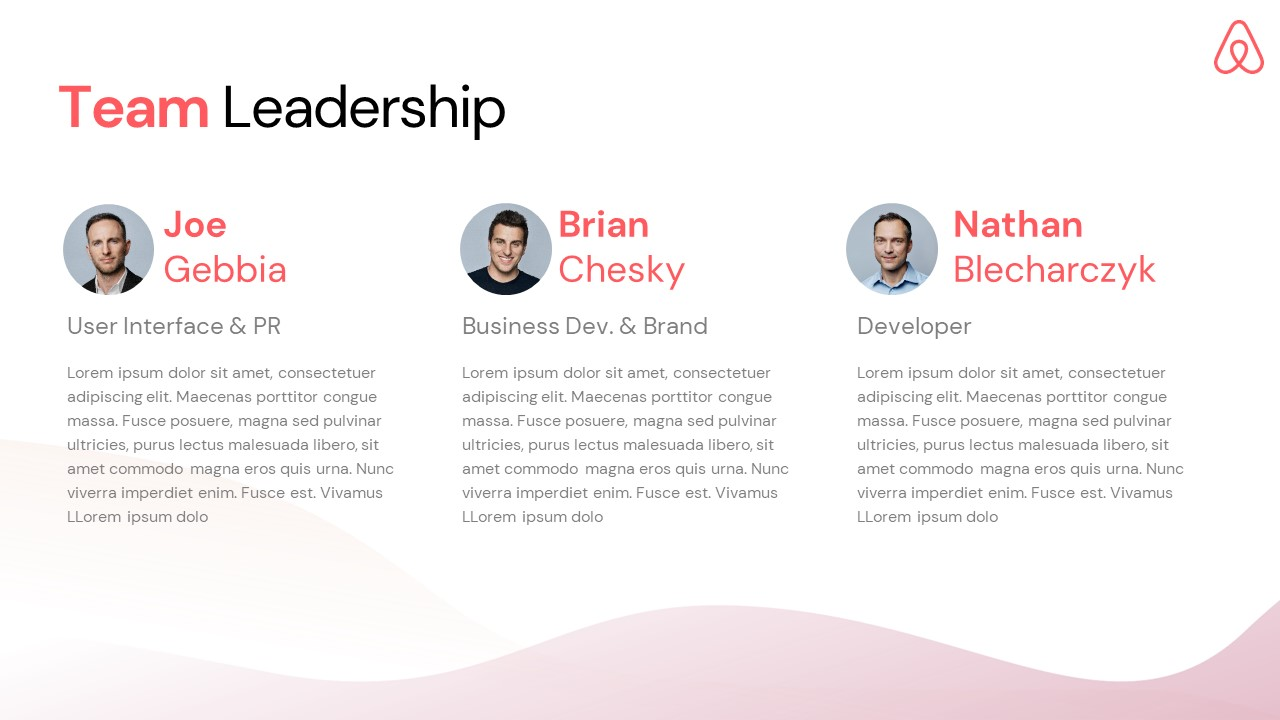 Airbnb Pitch Deck Template: Team Slide — Best Pitch Deck Examples | VIP Graphics
