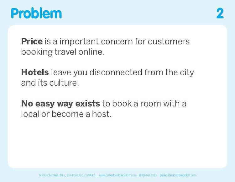Airbnb Pitch Deck Original: Problem Slide — Best Pitch Deck Examples | VIP Graphics