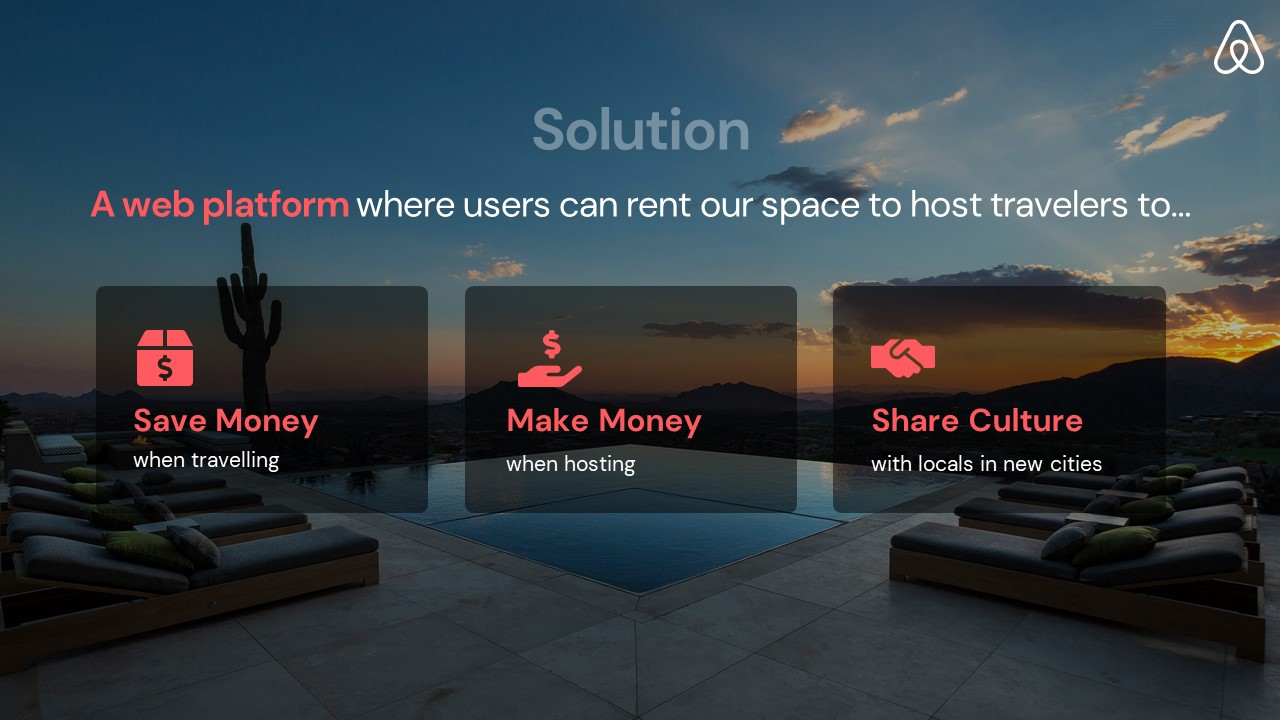 Airbnb Pitch Deck Template: Solution Slide — Best Pitch Deck Examples | VIP Graphics