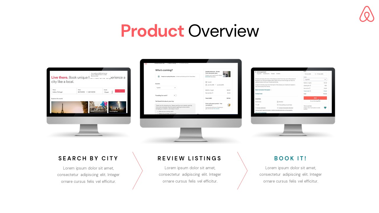 Airbnb Pitch Deck Template: Product Slide — Best Pitch Deck Examples | VIP Graphics
