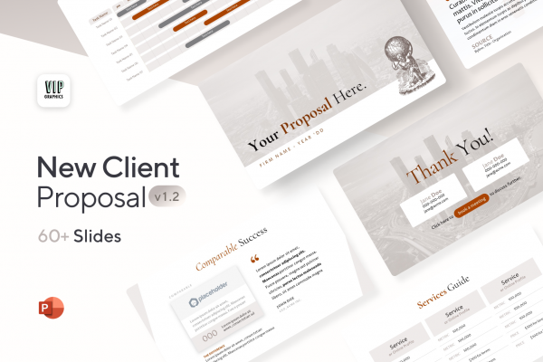 New Client Proposal Template: Nail your agency's next presentation with these stunning slides for proposals: from services & pricing to process, timeline, experience and more.
