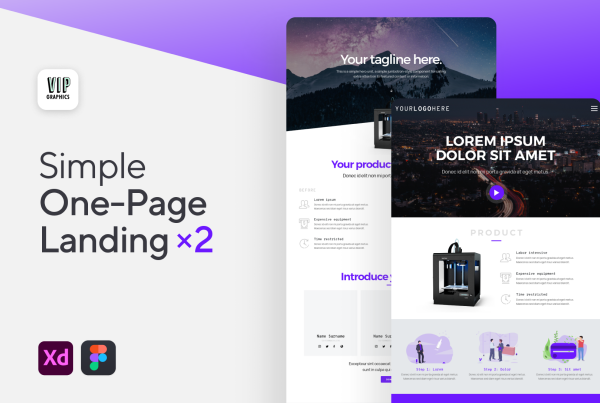 1-Page Product Landing – Web UI for Figma & XD