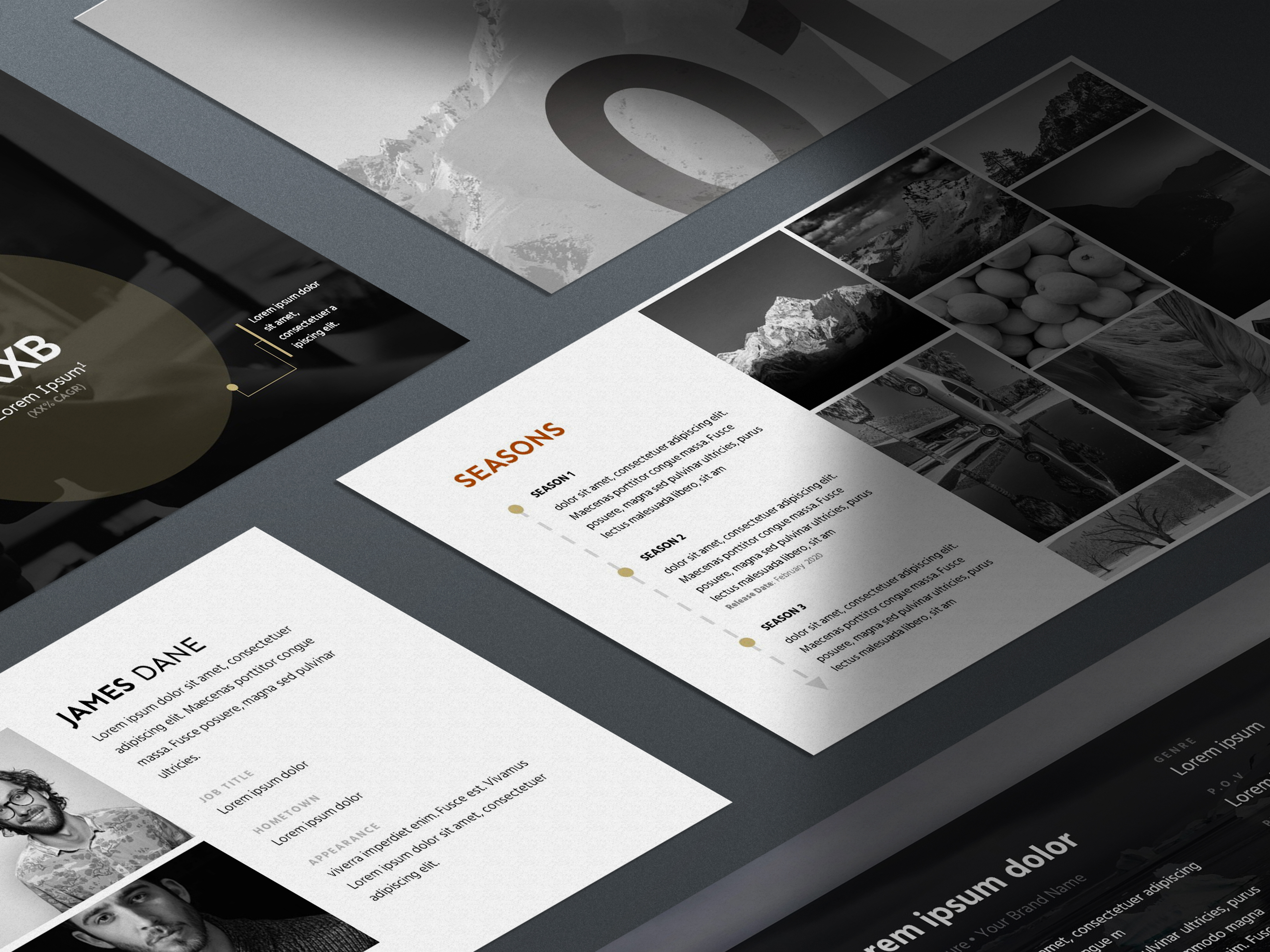 Screenplay Pitch Deck Template Preview - Shadow Slides Mockup PSD | VIP Graphics