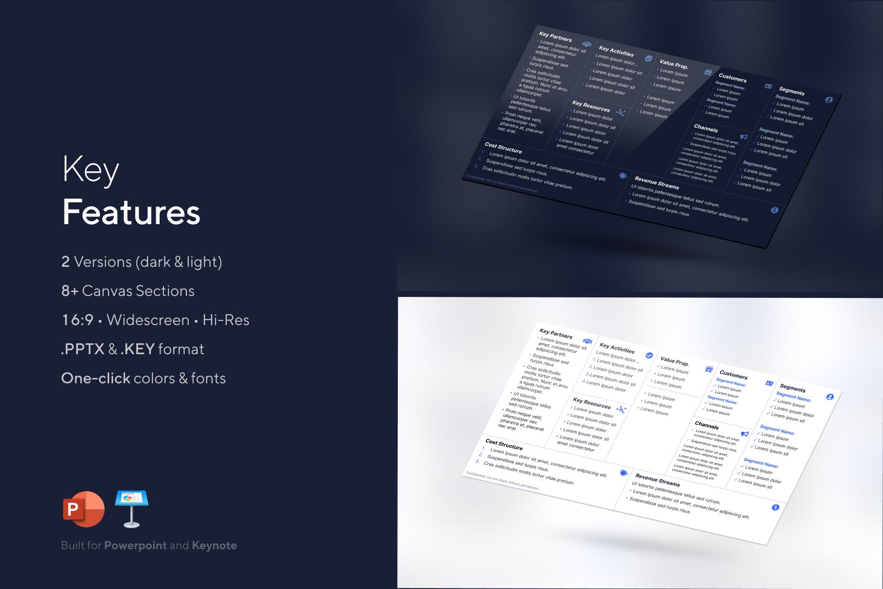 Features: Business Model Canvas Powerpoint Template - Dark & Light Version | VIP Graphics