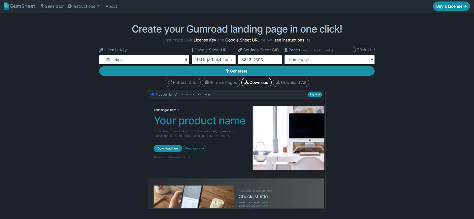 GumSheet: no-code landing pages for Gumroad via Google Sheets
